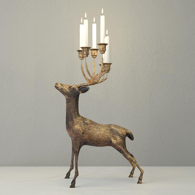oversize brass deer candle holder 3D model