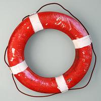 3D 1950s red white life preserver