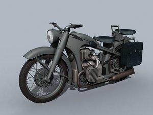german wwii motorcycle 3D model