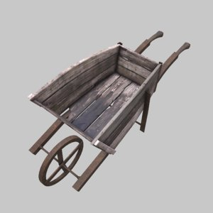 3D model wooden wheel wheelbarrow