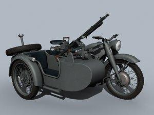 3D german wwii moto model