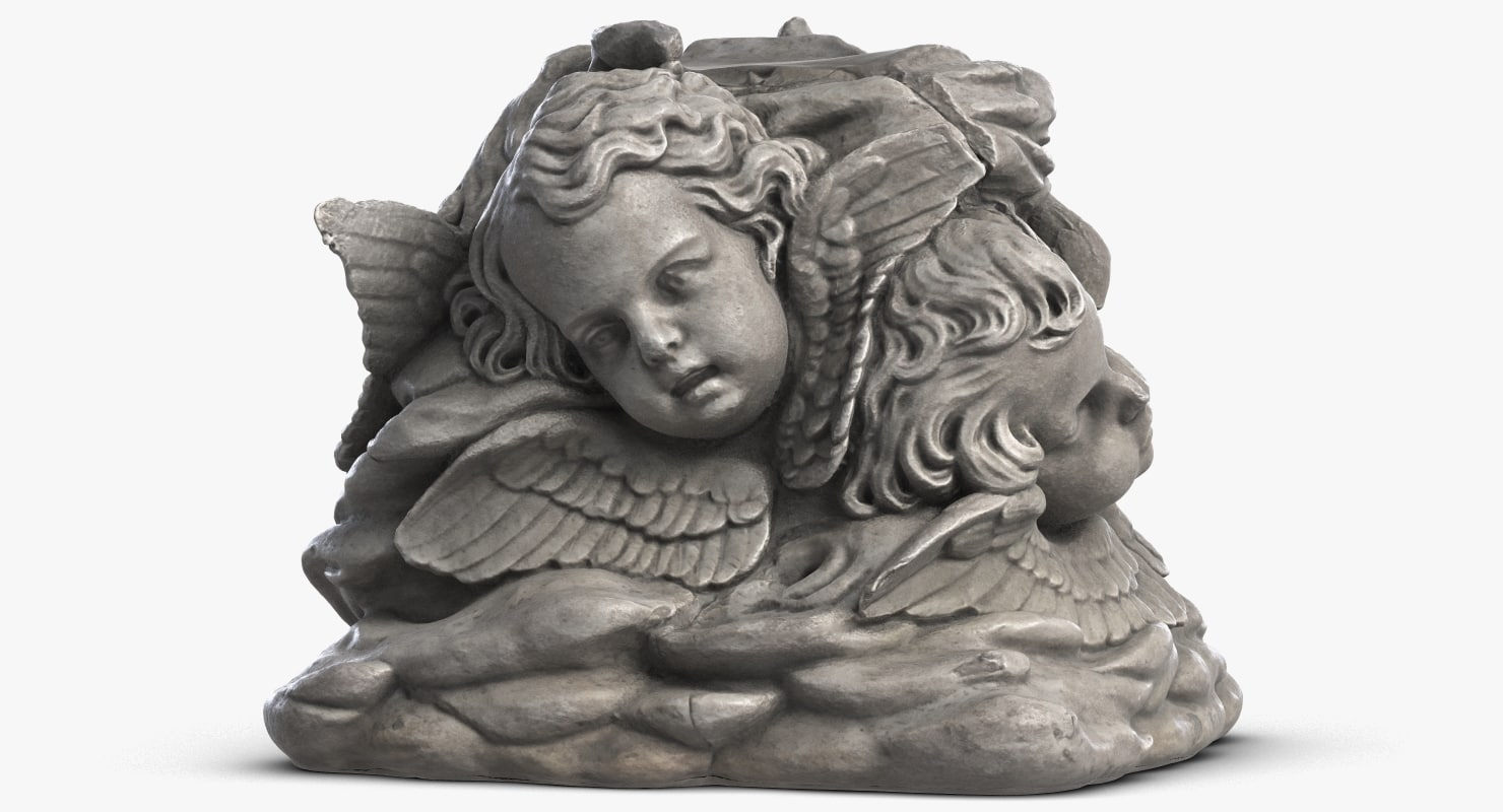 angels faces sculpture 3D model