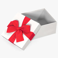 3D gift box open white