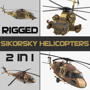 3D sikorsky military rigged helicopters