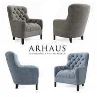 ARHAUS CLUB 34''TUFTED UPHOLSTERED CHAIR IN TWEED