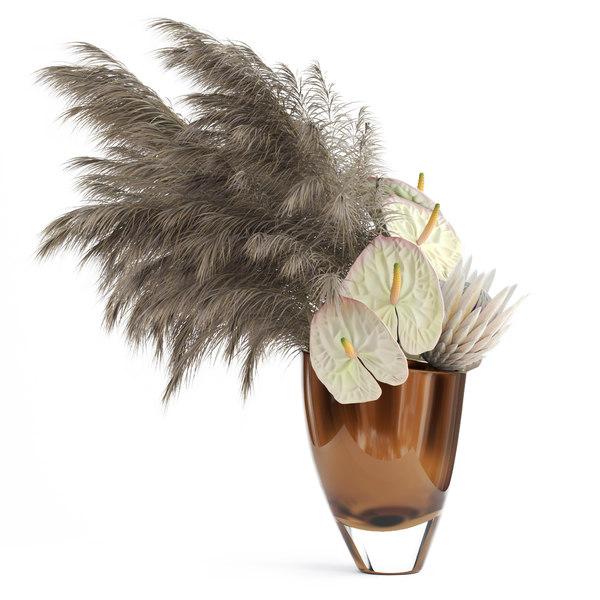 3D realistic protea anthuriums pampas