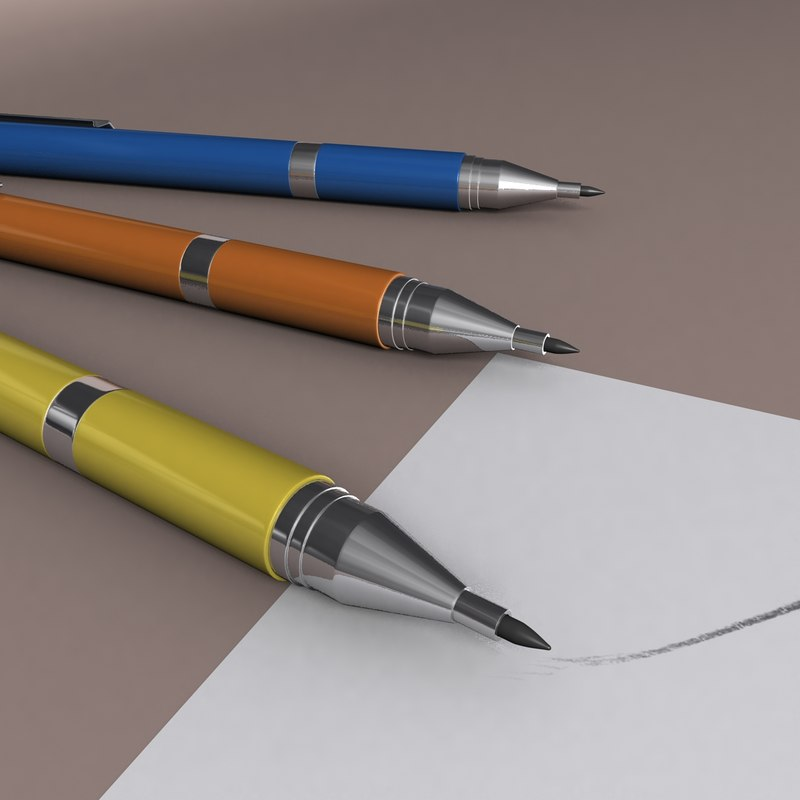 drawing pencils sketching 3D model