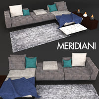 3D model sofa meridiani timothy