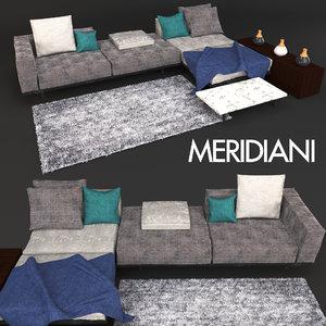3D model sofa meridiani timothy