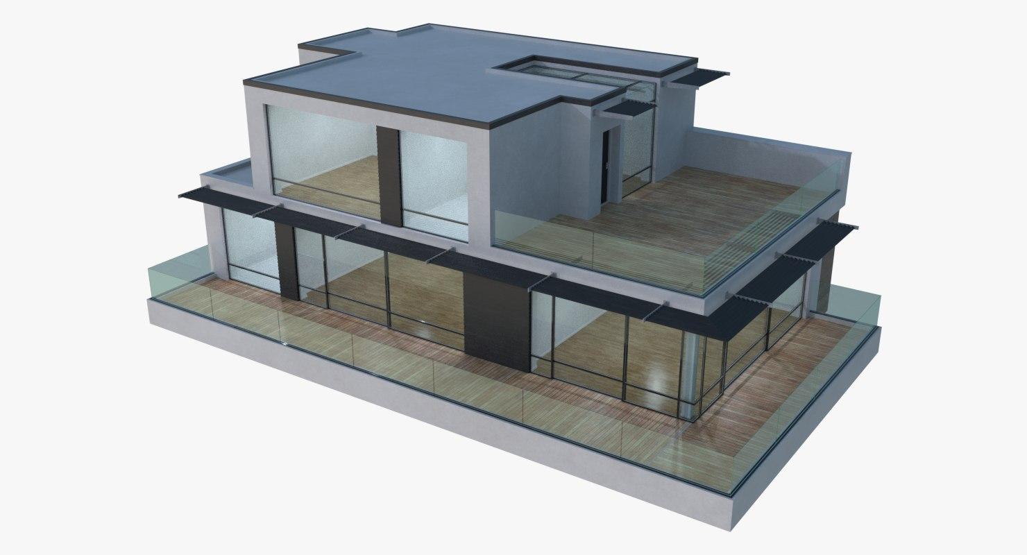 modèle 3D de Maison moderne 17 (intérieur + extérieur ...