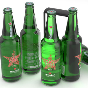 beer bottle heineken music 3D model