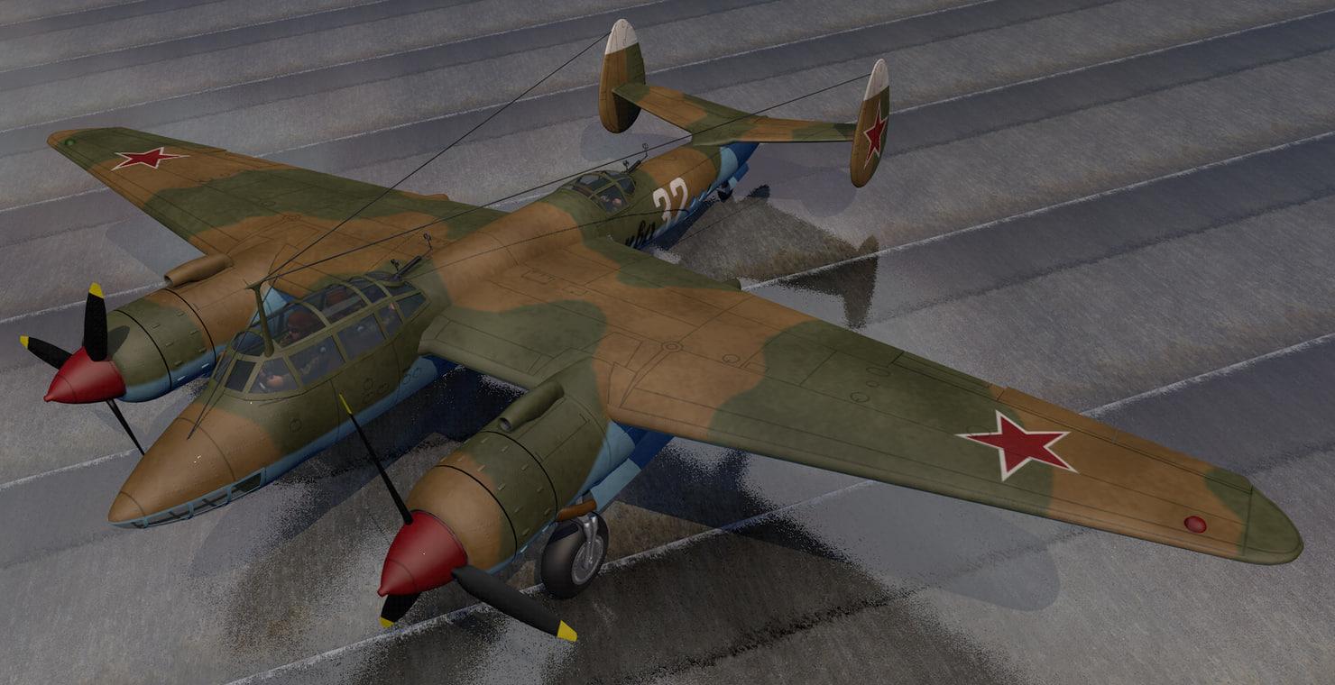 3D plane tupolev tu-2 bomber