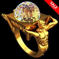 3D golden ring atlants model