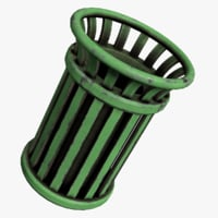 Street Trash Can - Low Poly Game Ready