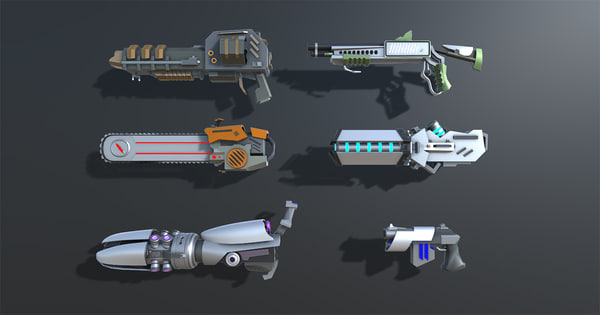 pack weapons items colorful 3D model