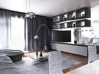 bedroom apartment modern style 3D model