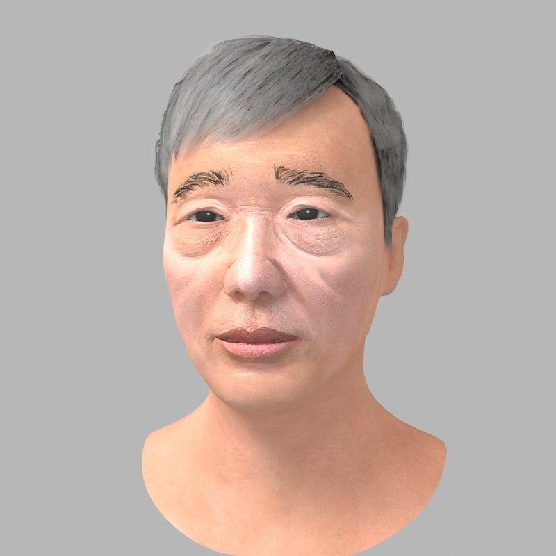 realistic asian man head 3D