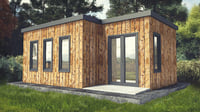3D small wood cabin interior office model