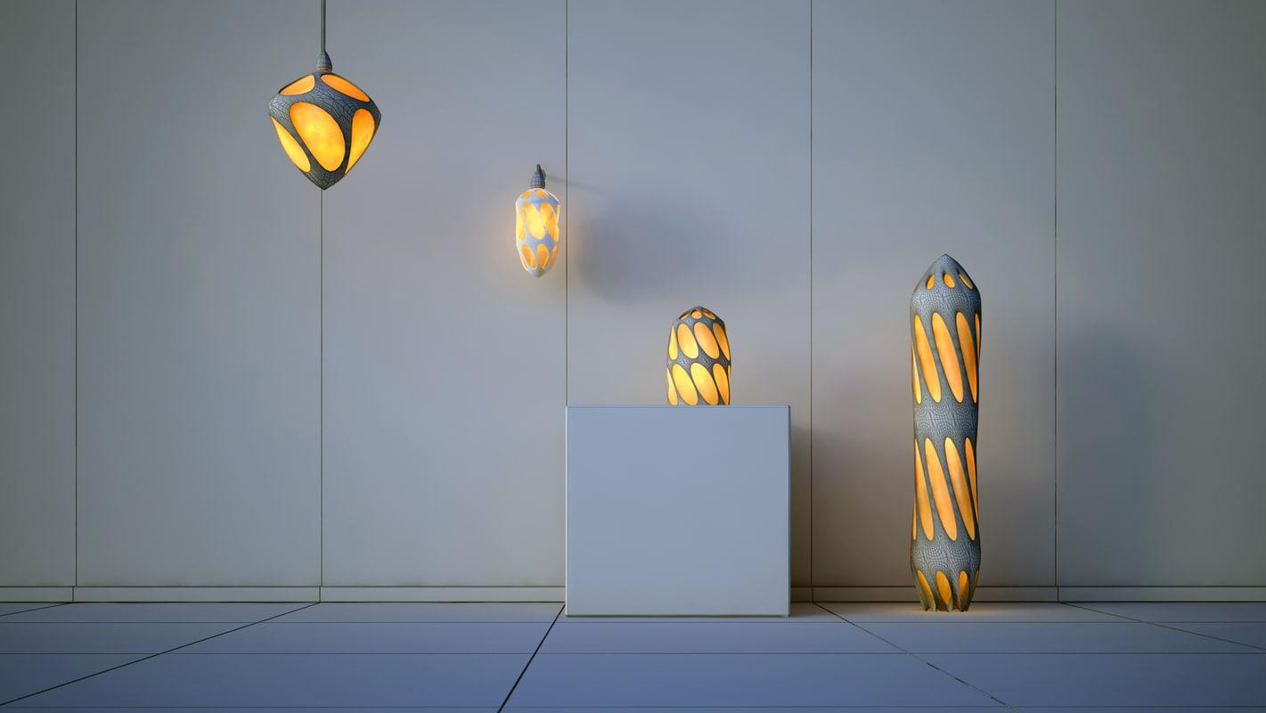 3D futuristic lamps model
