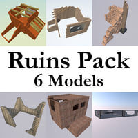 ruined building pack 6 3D