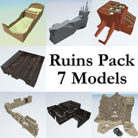 3D ruined building pack 7 model