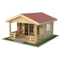 3D model cabin garden wood