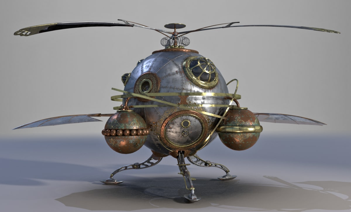 steampunk steam helicopter 3D model