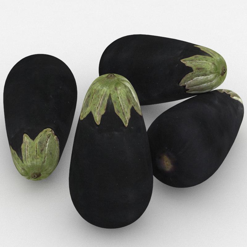 aubergine eggplant 3D
