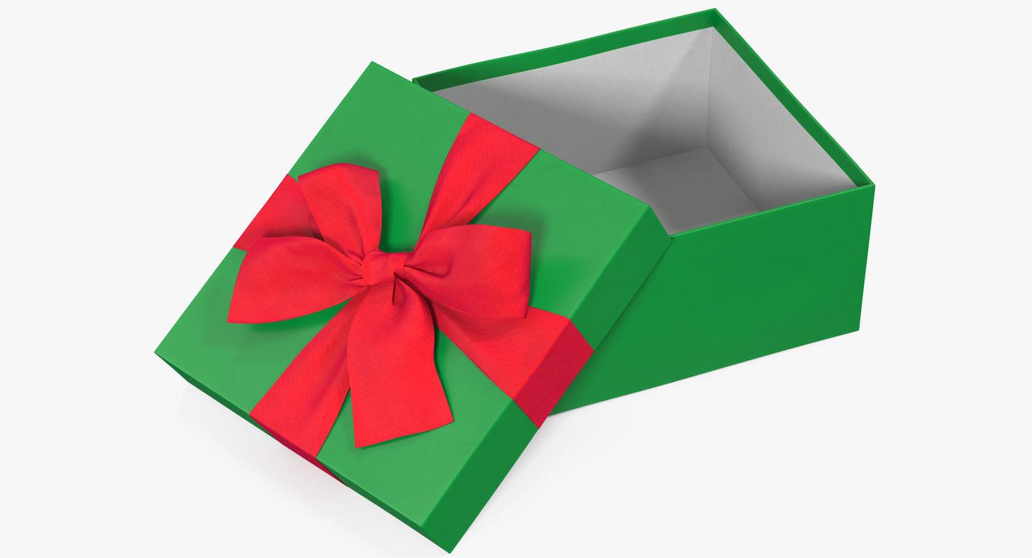gift box open green model