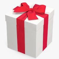 3D gift box white 3 model