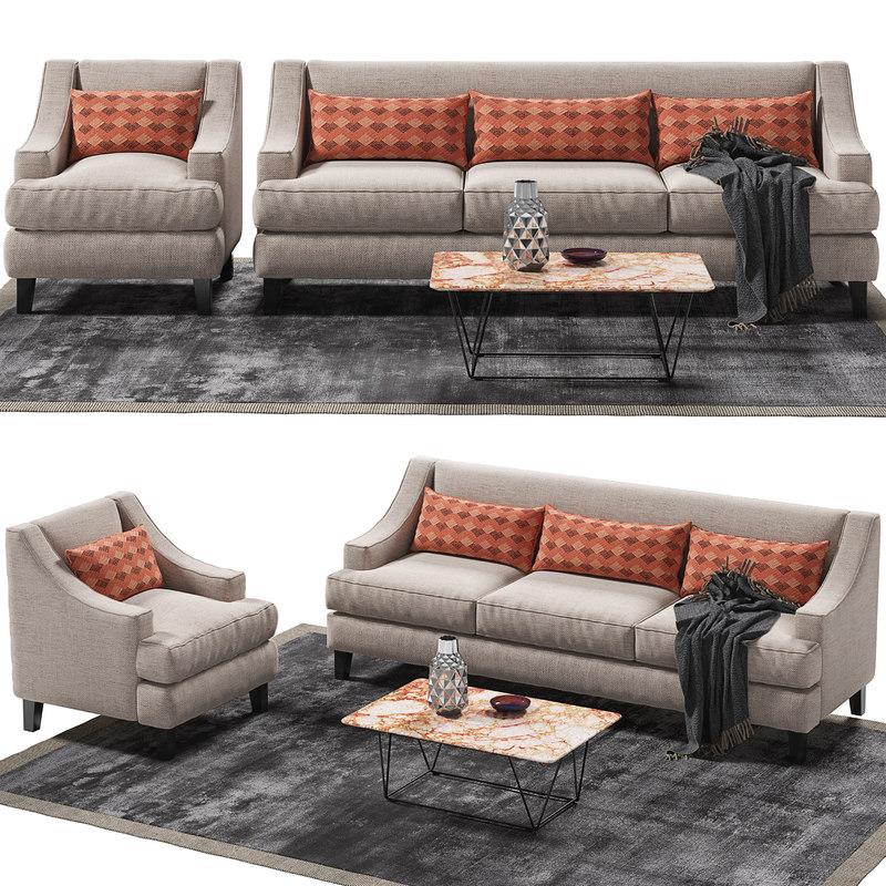 3D rhinebeck sofa armchair