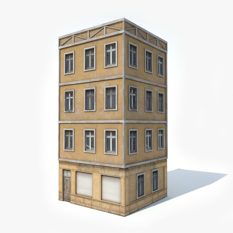 3D model photorealistic european apartment building
