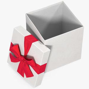 3D gift box open white