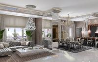 visionnaire liveroom interior scene 3D model