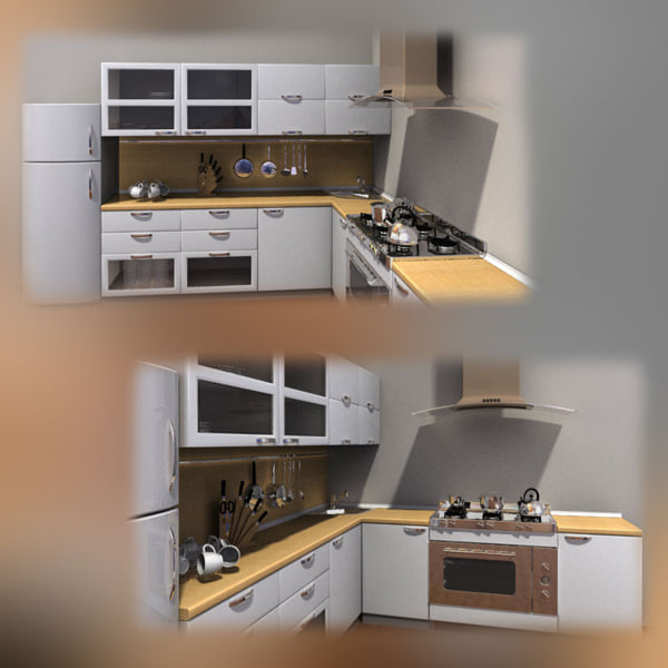 3d Kitchen Set Furniture Turbosquid 1201400