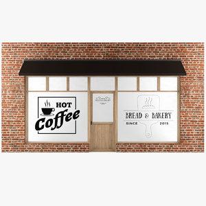 3D model cafe facade