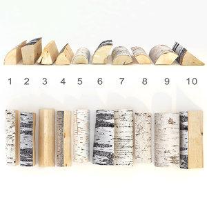 3D set birch wood