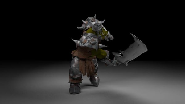 3D orc rigged animation model