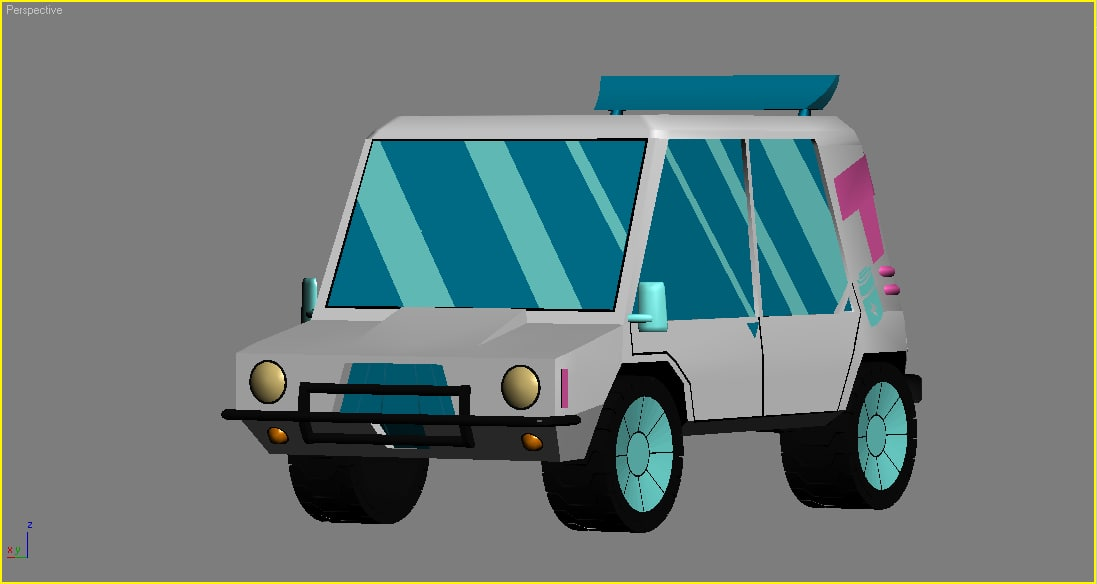 teen titans -t car cartoon 3D model