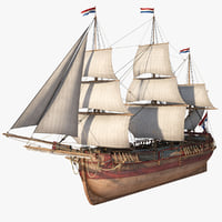 dutch galiot sails 3D