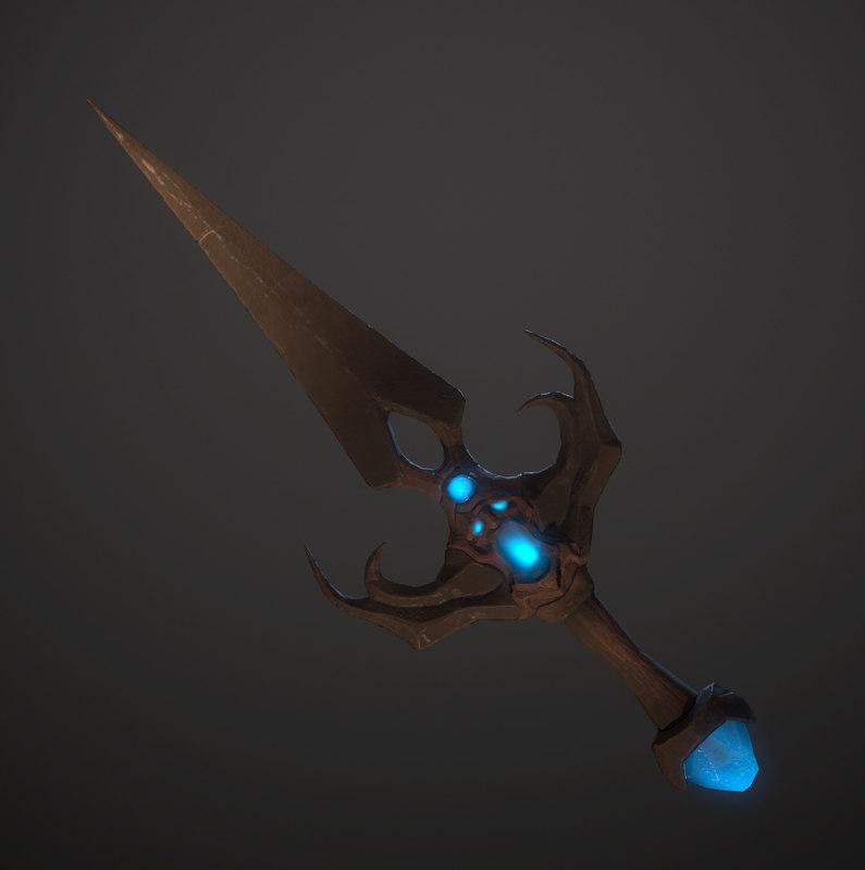 3D dagger fantasy demon model