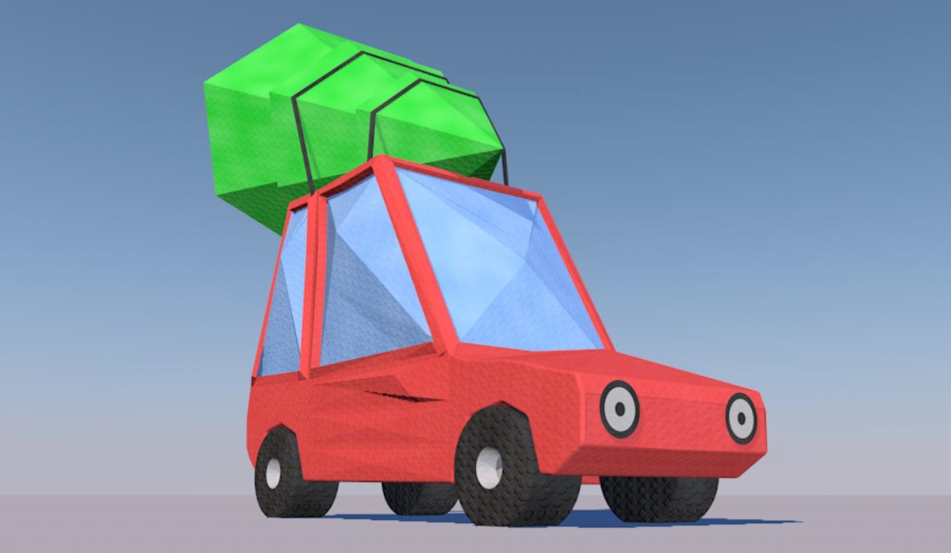 3D model origami cartoon car