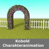 3D hedge fence garden entrance model
