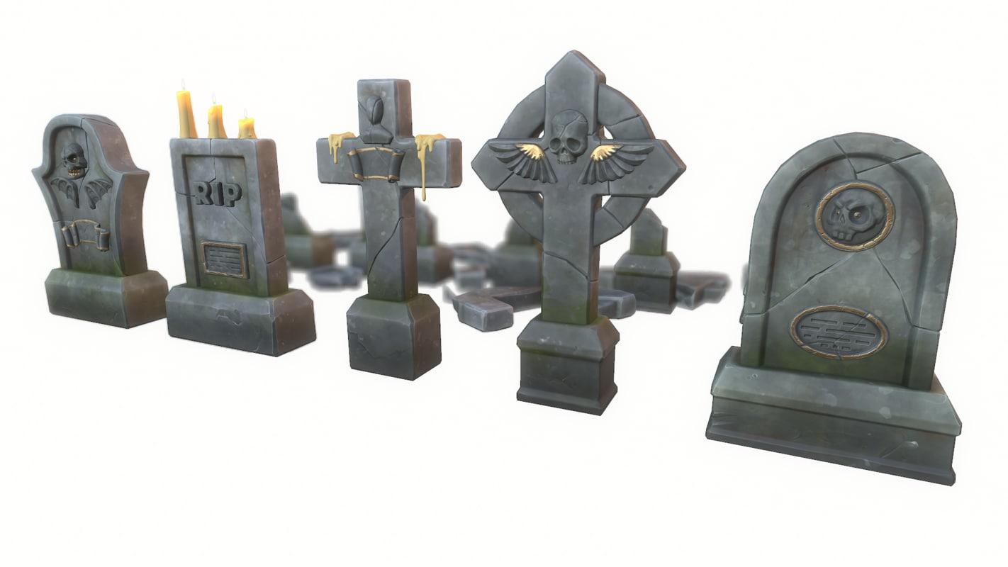 cartoon gravestones set 3D model