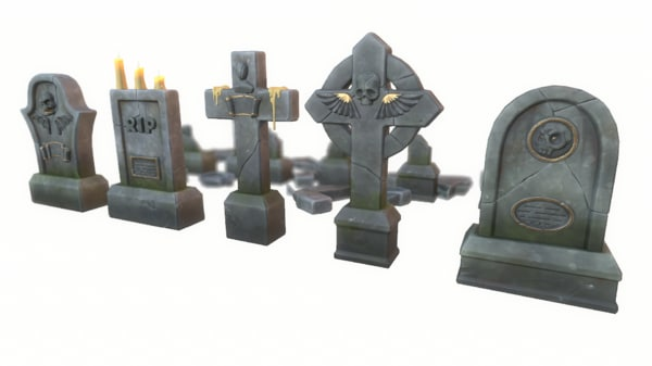 cartoon gravestones set 3D model