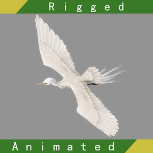 egret rigged animation 3D model