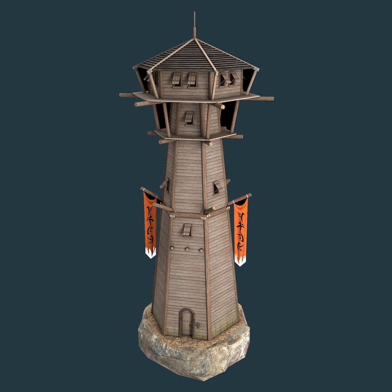 3D wooden watch tower medieval model