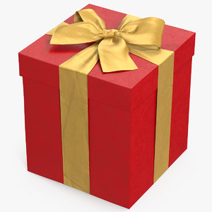 3D gift box red 3