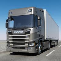 3D scania r 500 trailer
