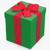 gift box green 3 3D model
